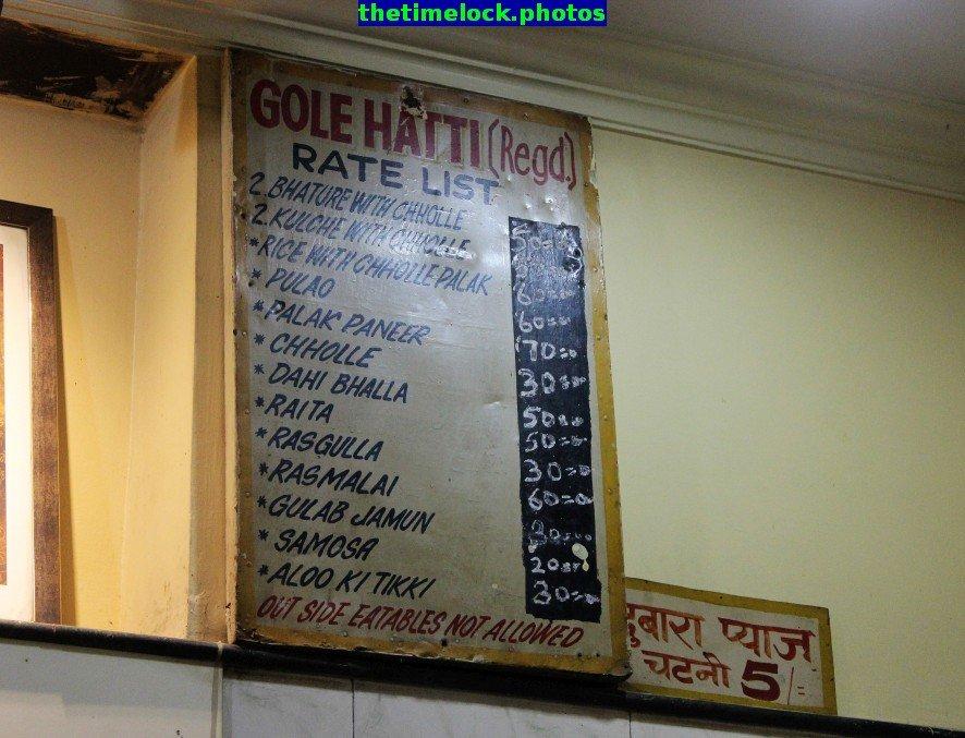 menu at gole hatti, chandni chowk