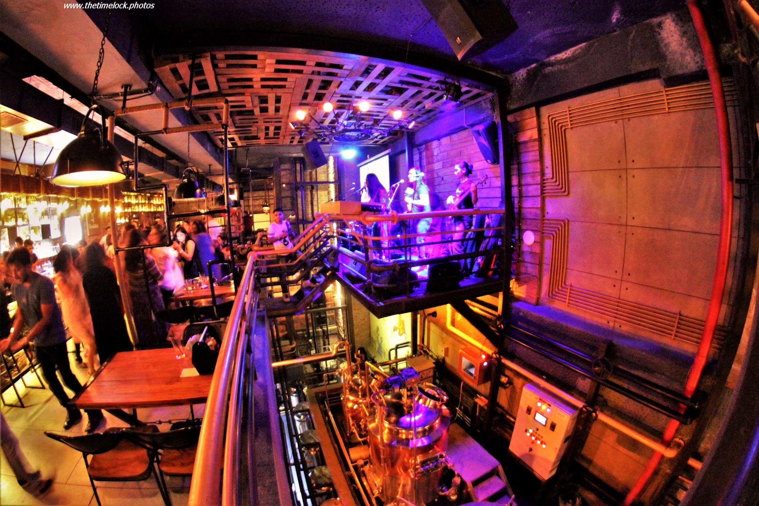 fish eye image of night club