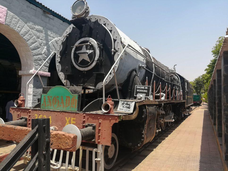 One of the imposing steam locomotive at Rewari Railway Heritage Museum
